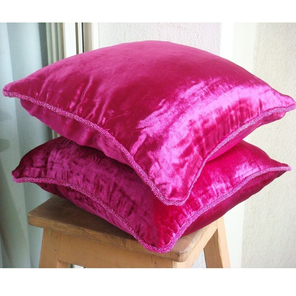 Designer Fuchsia Pink Accent Pillows 19x19 Velvet