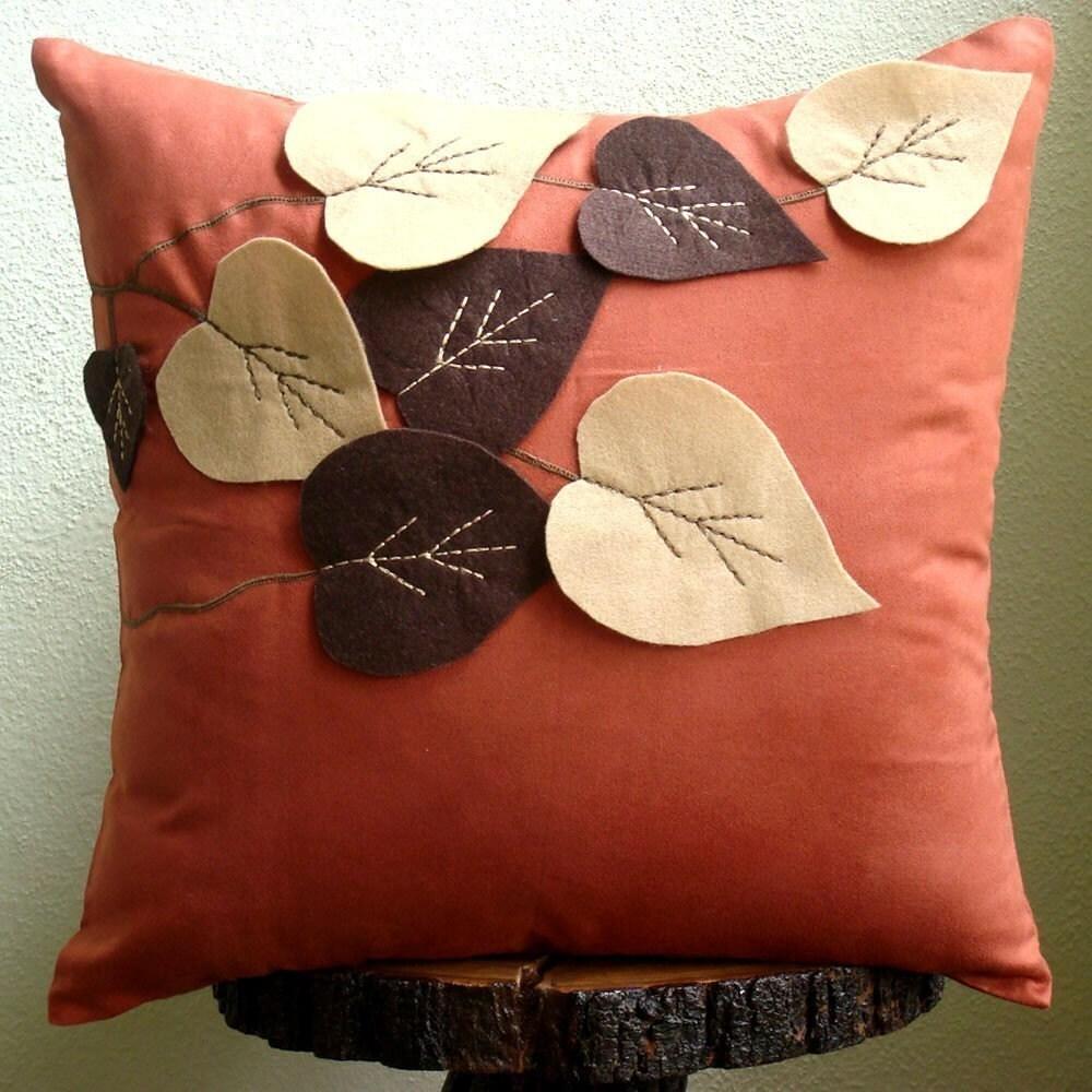 Rust Decorative Pillows Cover Square Leaf Felt Applique