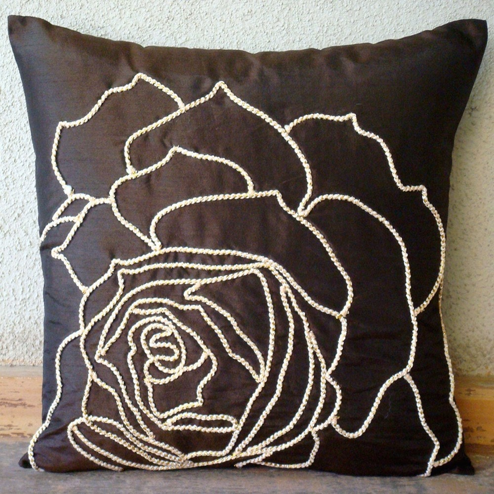 Enchanted Rose Throw Pillow Covers 18x18 Inches Silk