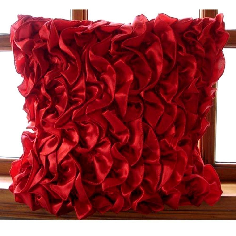 Vintage Pillows: Vintage Red Pillow Sham Covers 24x24 Inches Satin Pillow