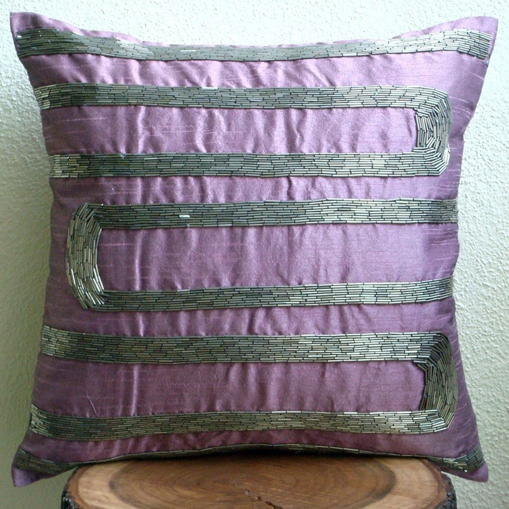 Luxury purple decorative pillow cover 16x16 silk for Luxury decorative throw pillows