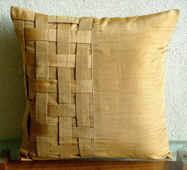 Gold Decorative Pillow Covers : Decorative Throw Pillow Covers Couch Pillow Sofa 18x18 Gold