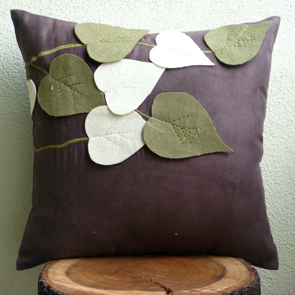 Throw Pillow Covers Brown : Brown Throw Pillow Covers 16x16 Faux Suede Pillow