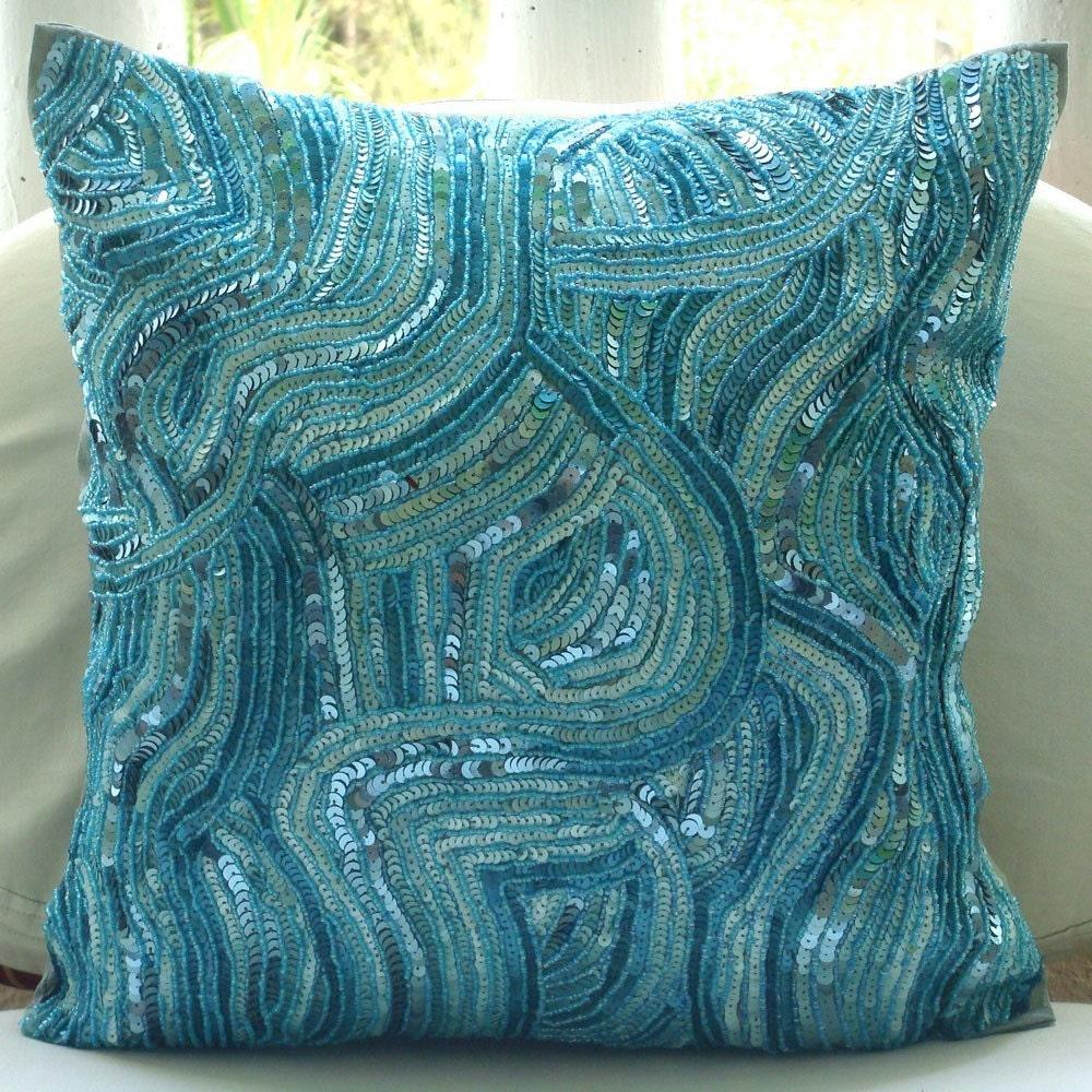 Throw Pillow Covers Silk : Blue Accent Pillows 16x16 Silk Throw Pillows