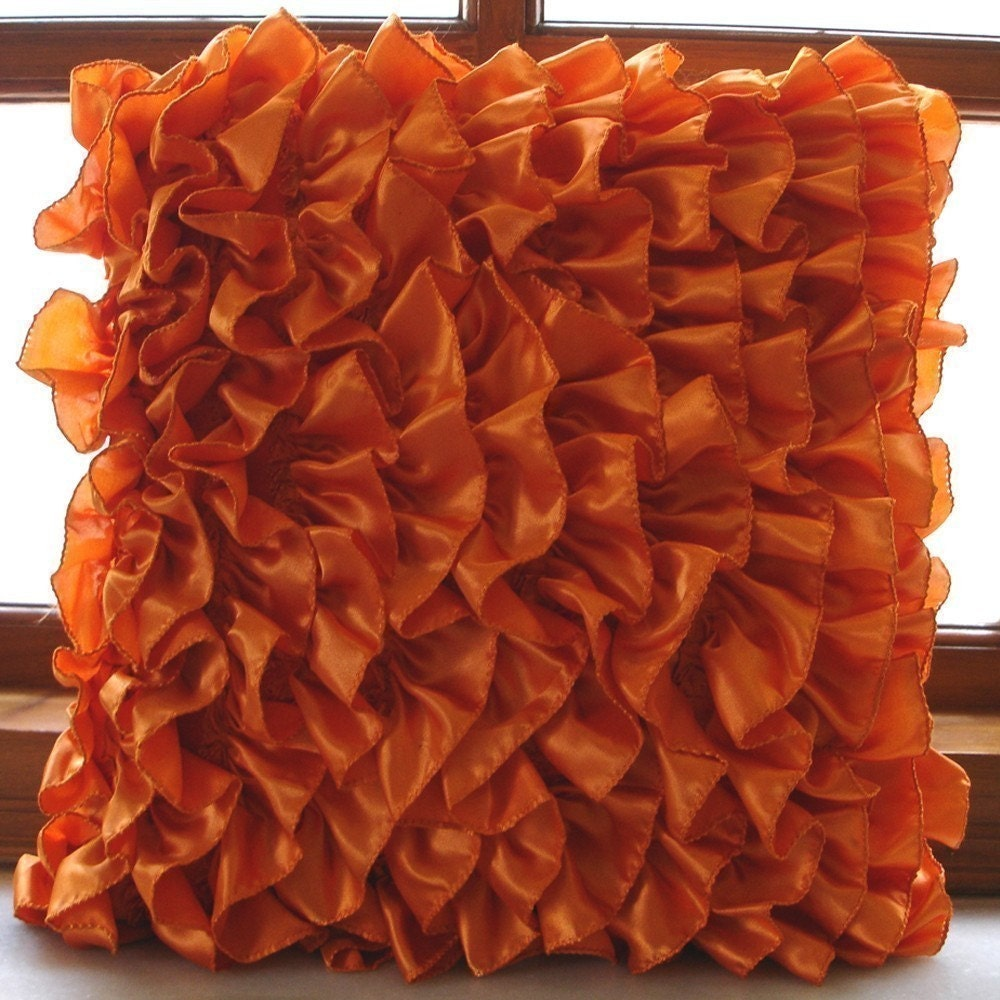 Orange Decorative Pillows Couch : Orange Throw Pillows Cover 16x16 Satin Pillows