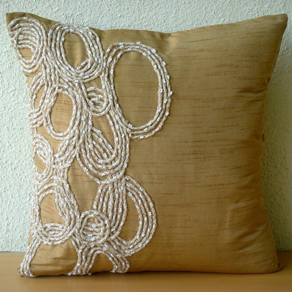 Decorative Throw Pillow Covers 16x16 Inches Gold Silk Couch