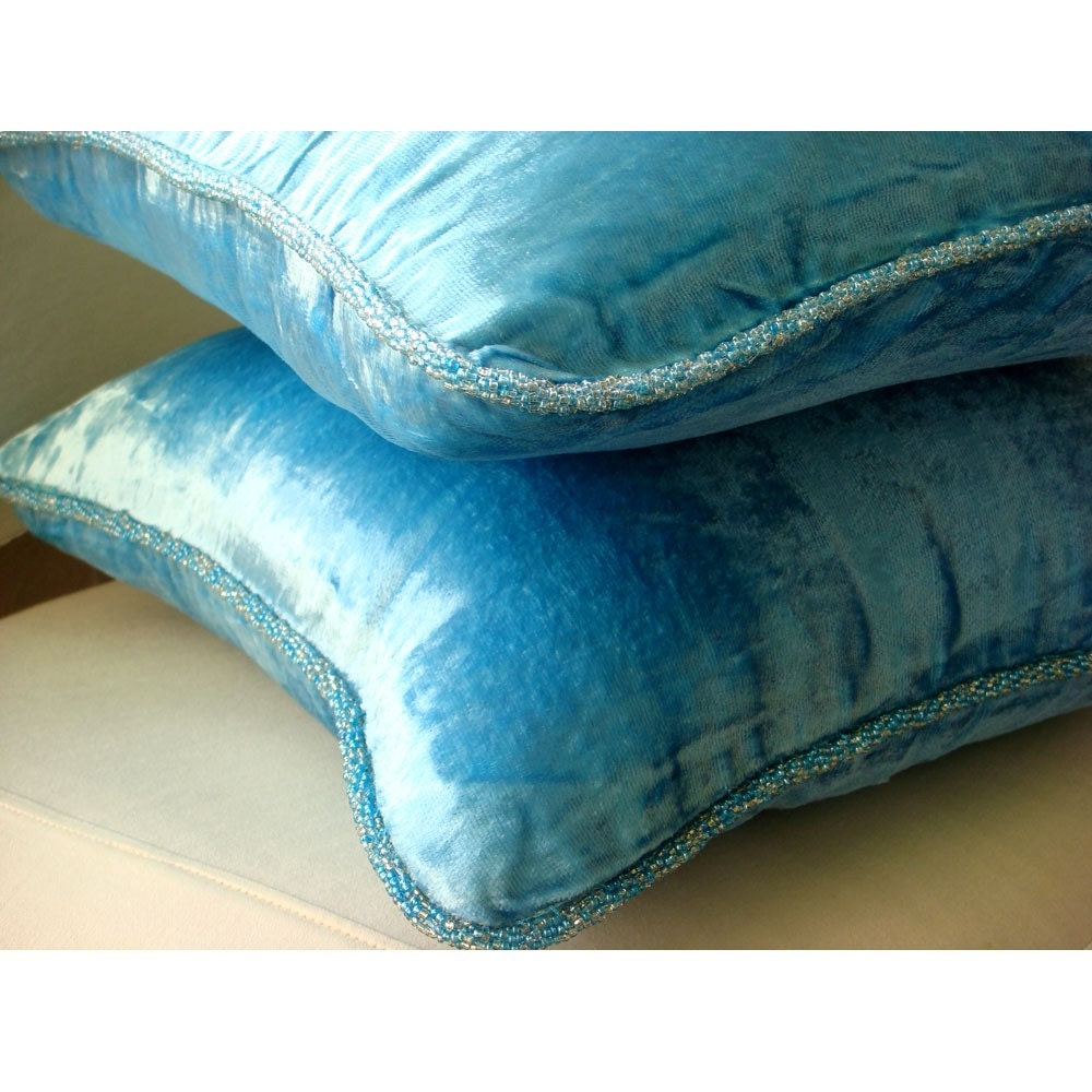 Throw Pillows Aqua Blue : Luxury Aqua Blue Accent Pillows 16x16 Velvet