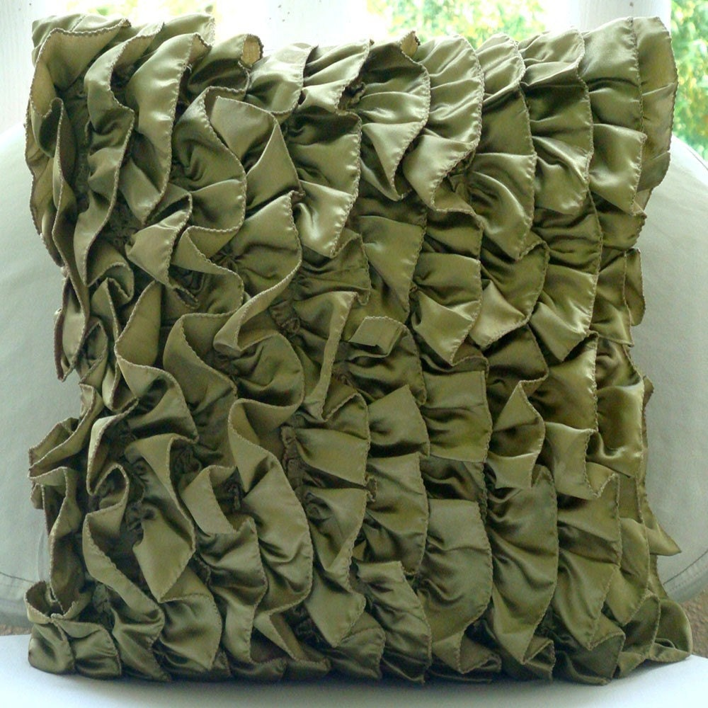 Olive Green Decorative Pillow CoverVintage Style Ruffles