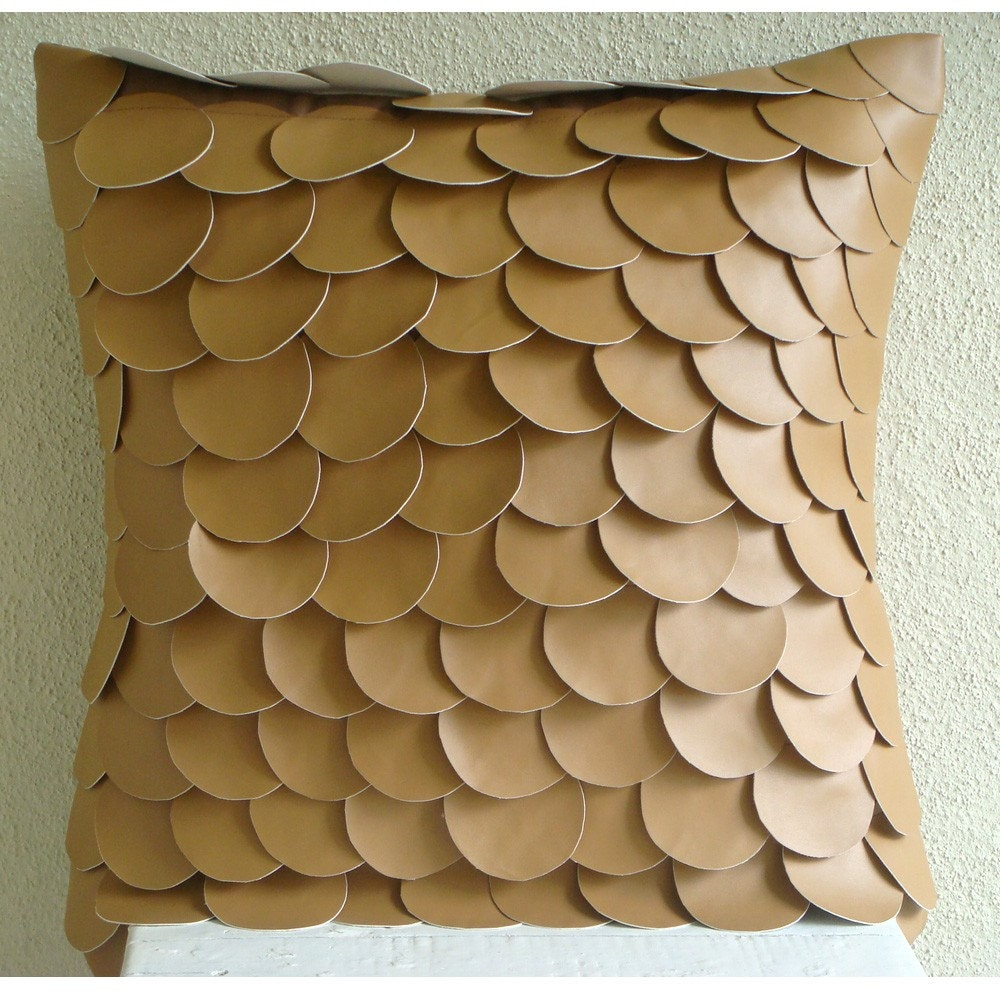 Handmade Brown Pillow Cases Fish Scales Pillows Cover Square