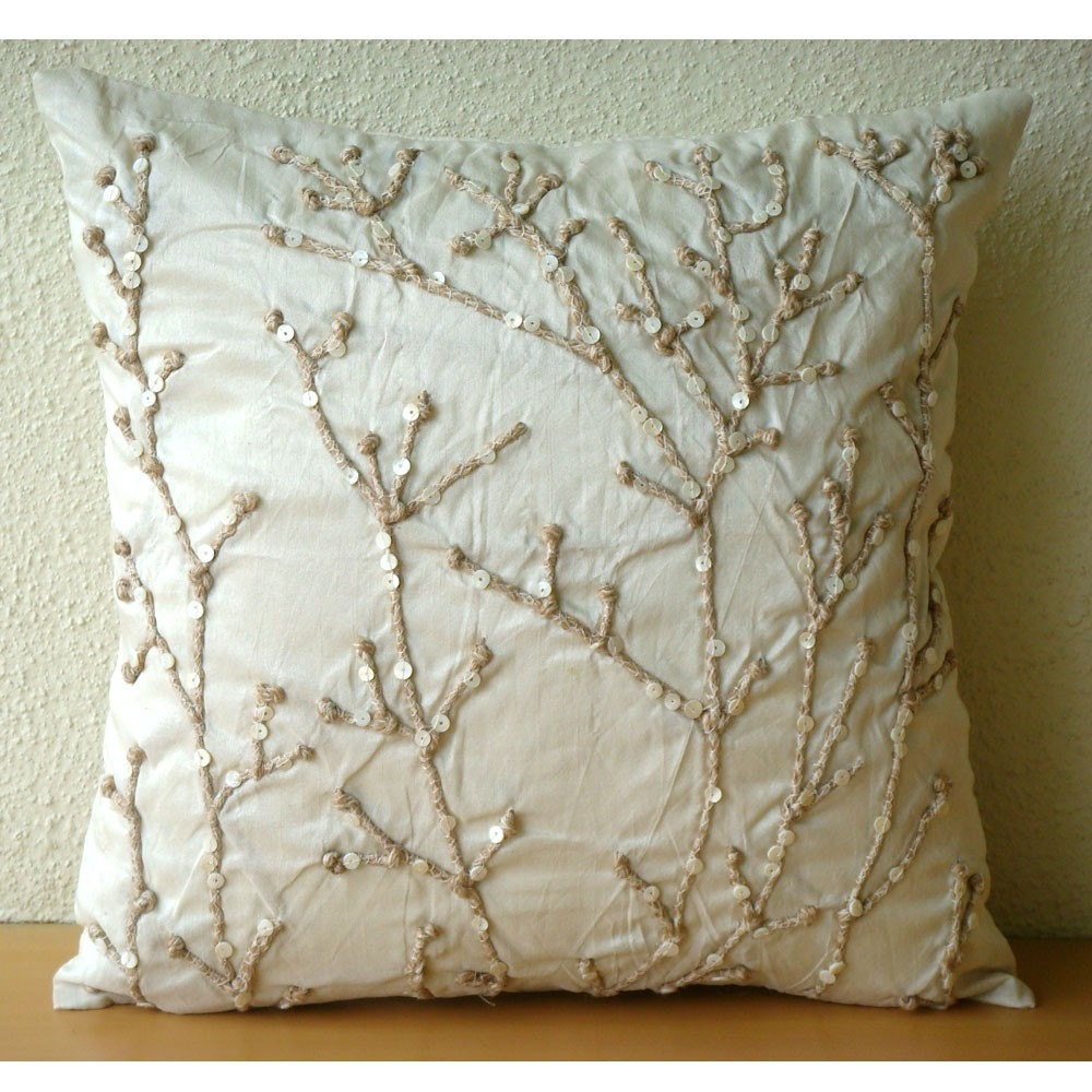 Throw Pillows Beige Couch : Beige Throw Pillow Covers 18x18 Silk Pillow Cover Jute