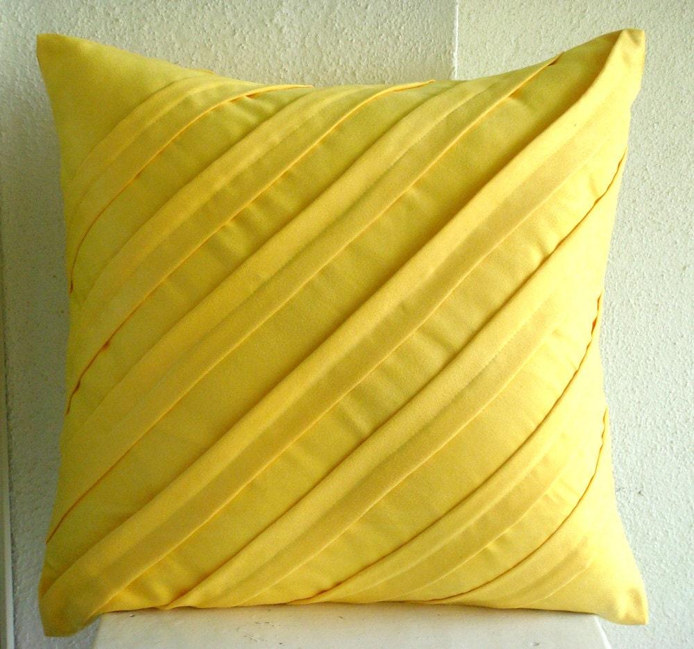Handmade Yellow Throw Pillow Covers Textured Pintucks Solid