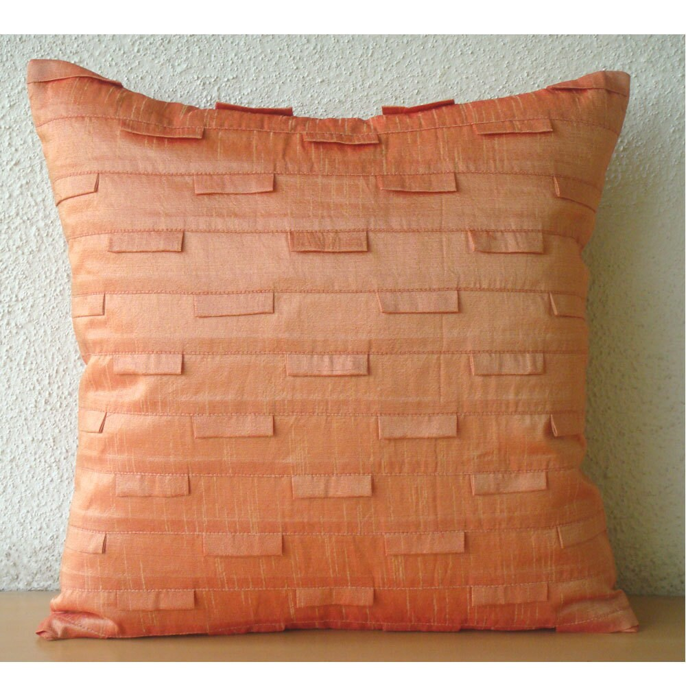 Handmade Orange Pillow Cases 16x16 Silk Pillow