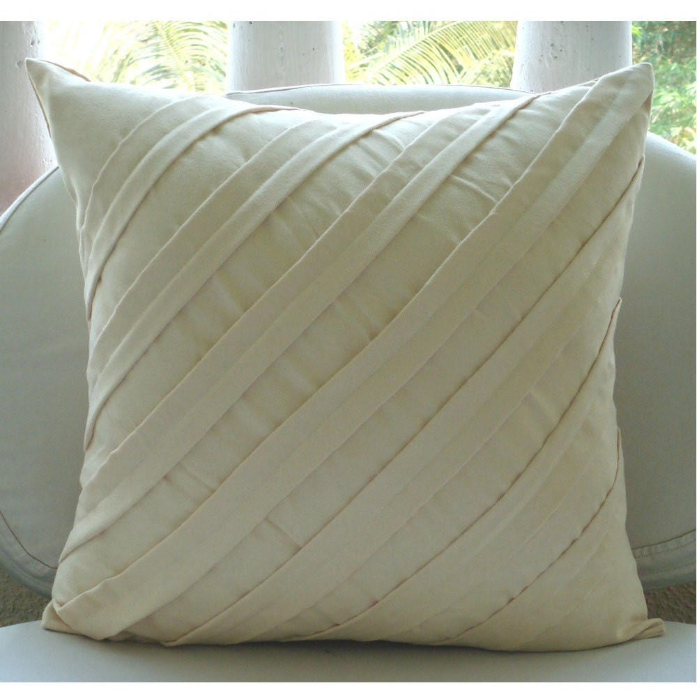 Cream Decorative Pillow Cover Square Textured Pintucks