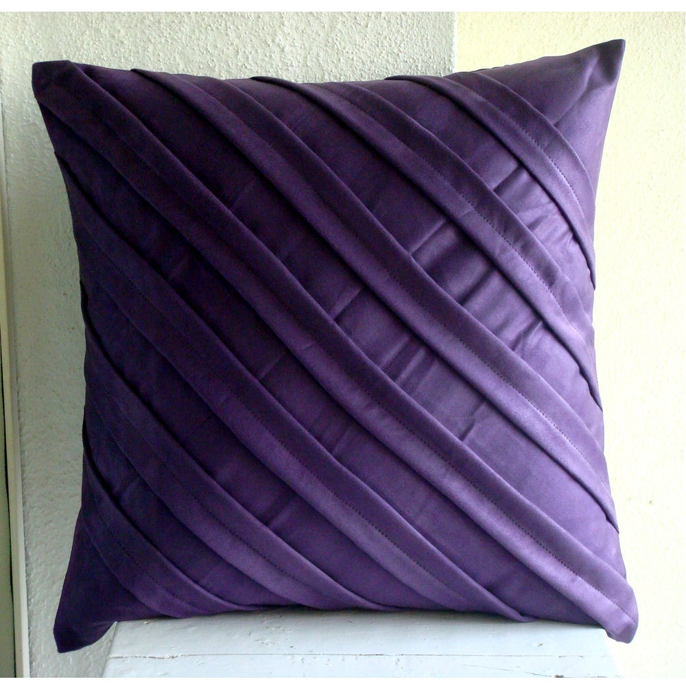 Purple And White Decorative Pillows : Handmade Purple Pillows Cover 16x16 Faux Suede