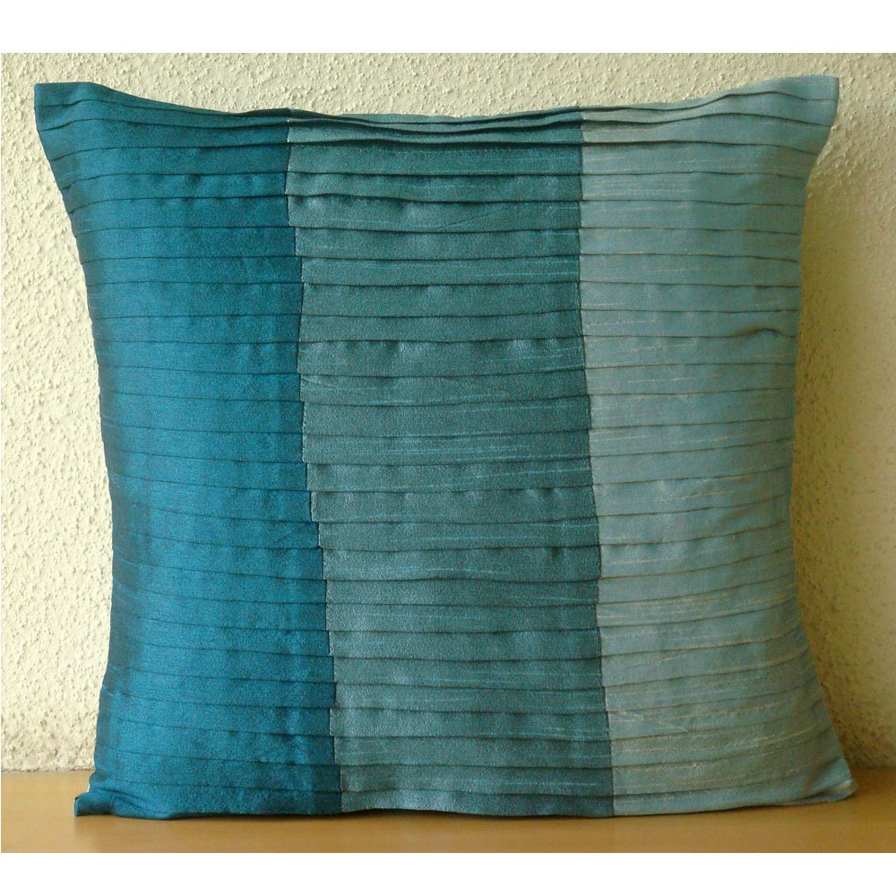 Shades Of Teal Euro Sham Covers 26x26 Inches Silk Euro