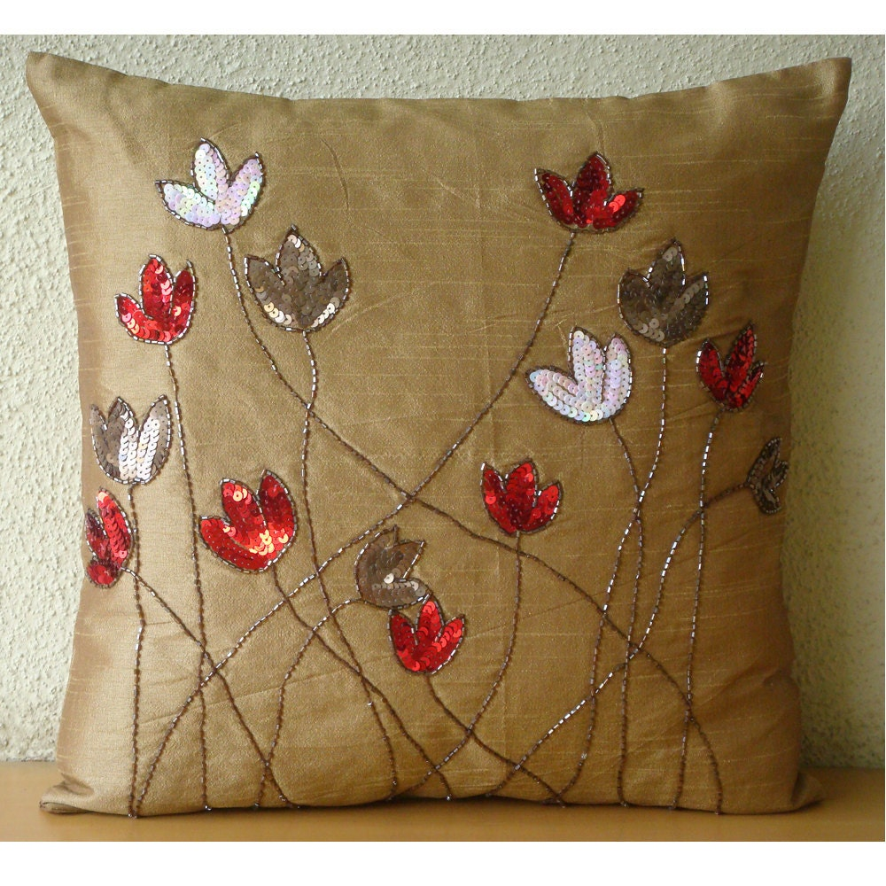 How To Make Throw Pillow Covers By Hand : Gold Throw Pillows Cover For Couch Square Sequins & Beaded