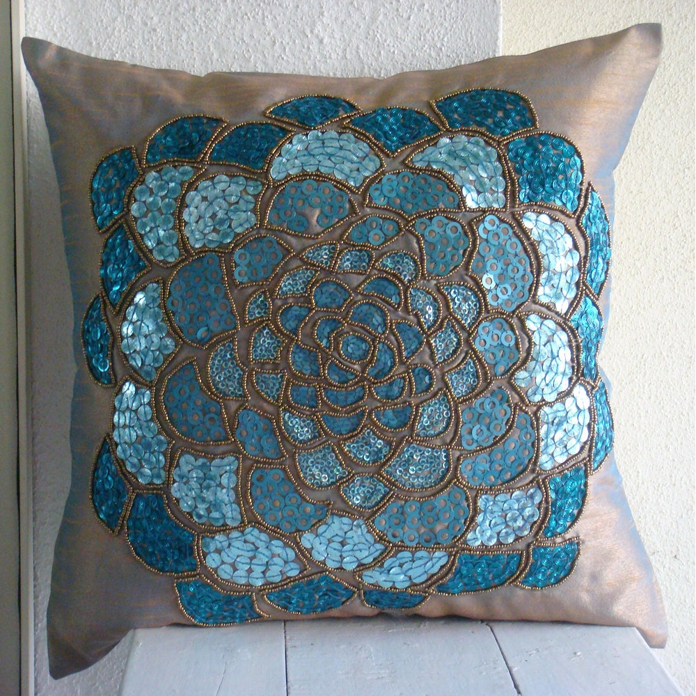Designer 3D Sequins Flower Medallion Floral Theme Pillows