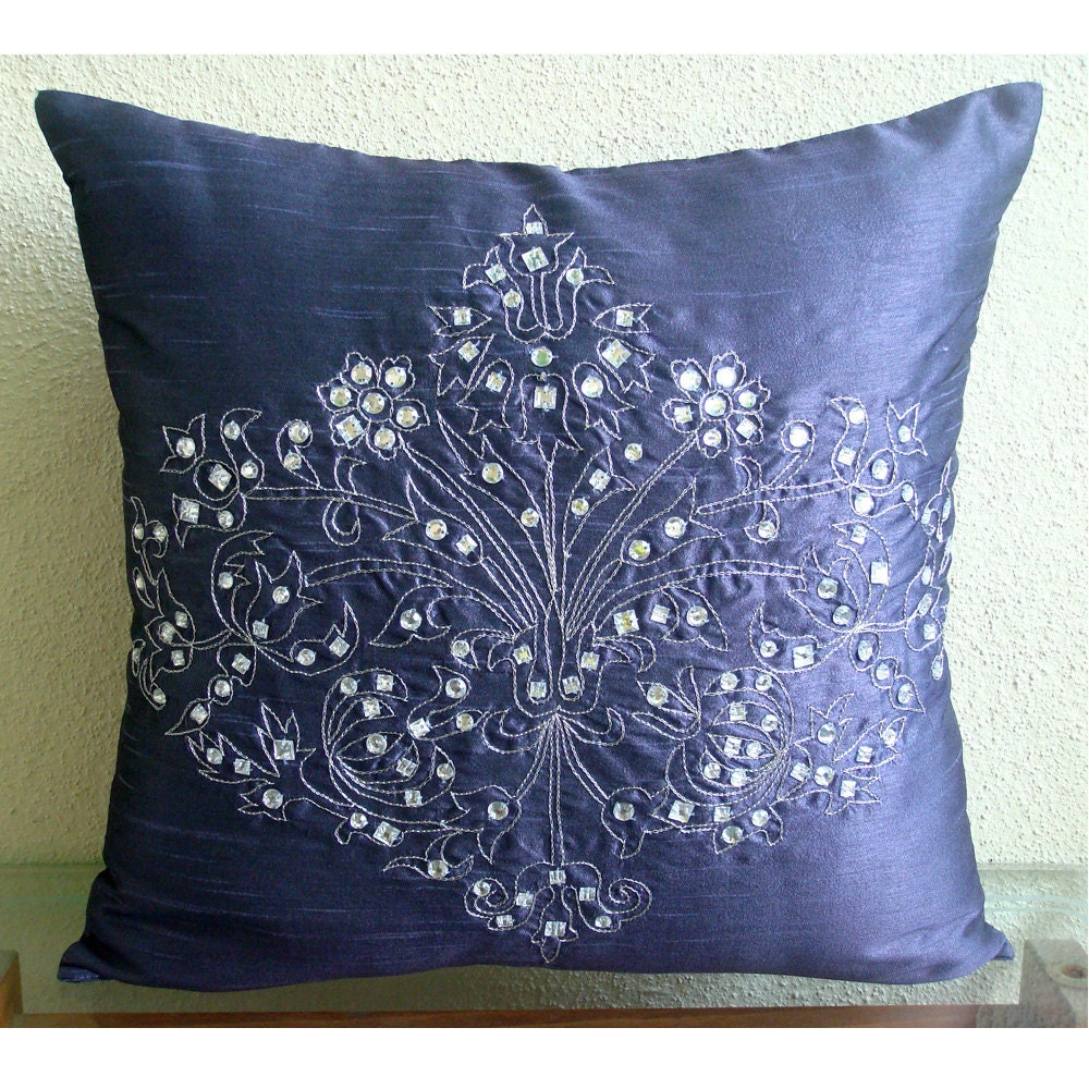 Throw Pillows Damask : Luxury Blue Throw Pillows Cover Crystals Damask Pillows