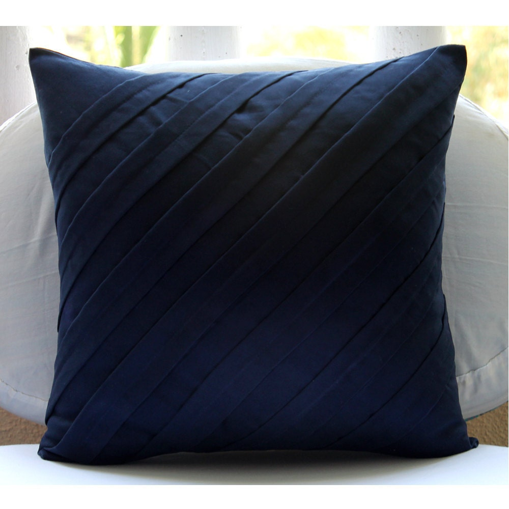 handmade navy blue accent pillows 16x16 faux suede pillow covers square - Blue Decorative Pillows