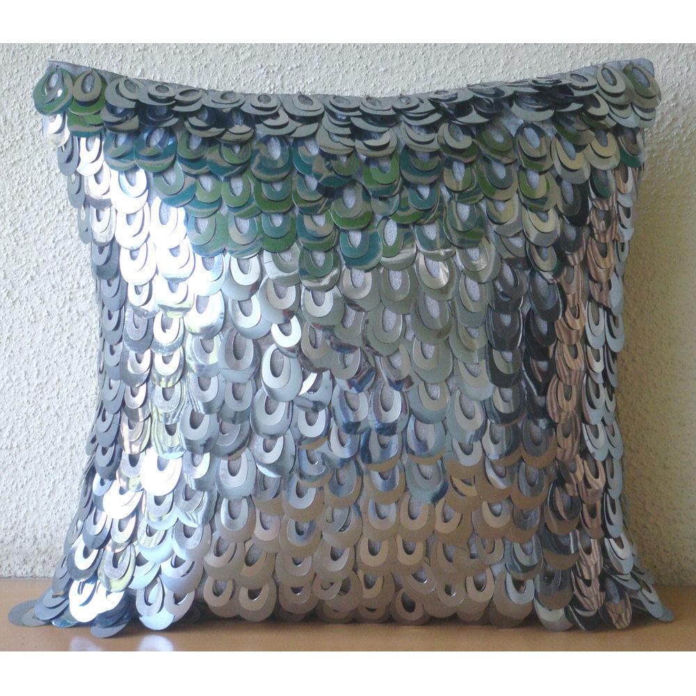 handmade silver accent pillows 16x16 silk throw. Black Bedroom Furniture Sets. Home Design Ideas