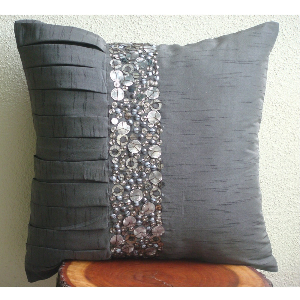 Throw Pillows For Sofa Images : Designer Grey Throw Pillows Cover For Couch 16x16
