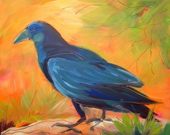 Crow in the Grass 7, original abstract oil painting