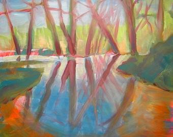 Creek Flood original abstract landscape oil painting