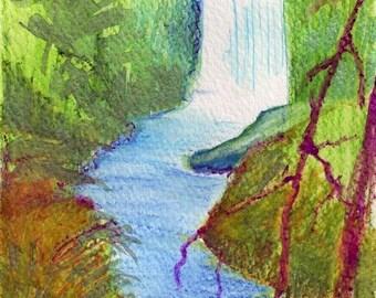 Silver Creek Falls original Oregon watercolor painting