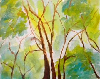 Park Trees 2 original watercolor painting