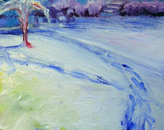 18th Street Snow 2 original abstract oil painting
