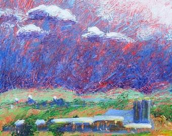 Pennsylvania Farm original abstract landscape painting