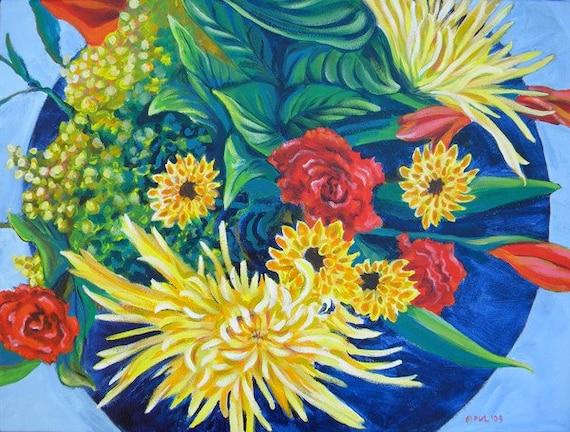 Kim's Bouquet 1 original still life acrylic painting