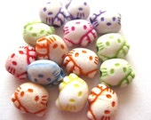 50 Kitty Acrylic Plastic Beads 8x10mm