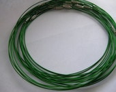 3 pcs Green Stainless Steel Chain Cord Necklace 18'