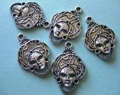 5 pcs Tibetan silver goddess head portrait Pendants charms
