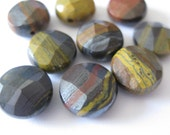 4pcs  African Tiger Iron Faceted Coin Gemstone Beads 11MM