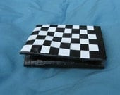Black and White Checkerboard duct tape wallet -- trifold