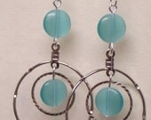 Aqua Double Hoop Dangle