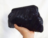 Vintage Hollywood Style Navy Sequins Clutch