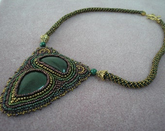 SALE Beautiful embroidered aventurine necklace by Galeandra