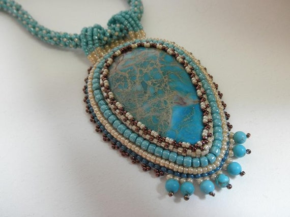 Turquoise sediment jasper bead embroidered necklace by Galeandra
