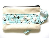 Sweet Cotton Zippered Wristlet - Natural cotton with a stripe of alexander henry cotton print cotton, and pale pink lining