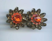 Weiss Root Beer and Orange Rhinestone Flower Earrings