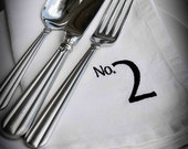 Numbered Linen Napkins in White Set of 6 Free Shipping
