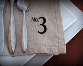 Numbered Linen Napkins in PEBBLE Set of 6 Free Shipping Ready to Ship