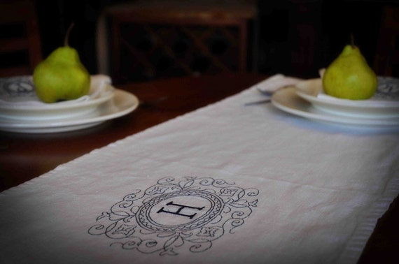 Linen Table Runner Personalized With Your Initial Perfect Wedding Gift Free Shipping