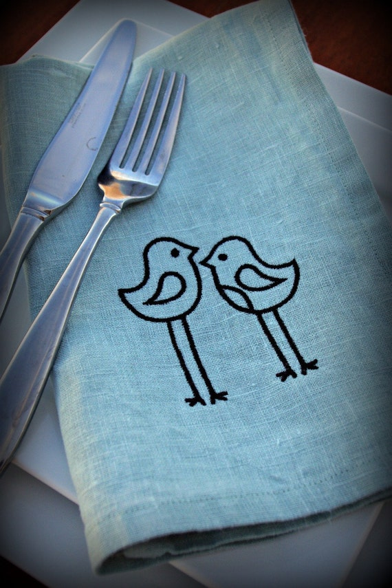 Gift Idea Bird or Chick Napkins in TEAL Linen Set of 6 Aqua Blue