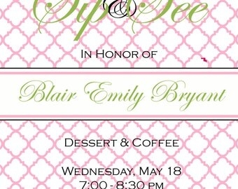 Baby Shower  Invitations - Digital File- Sip and See