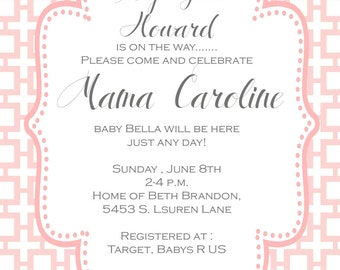 Baby Shower  Invitations - Digital File or printed invitations- Sip and See - Baby Girl