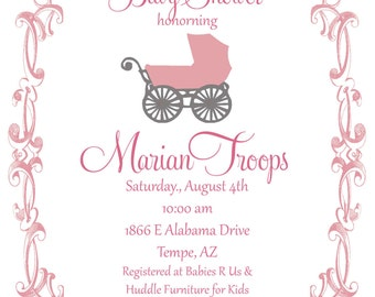 Baby Shower  Invitations - Digital File- Sip and See - Baby Girl Baby Carriage